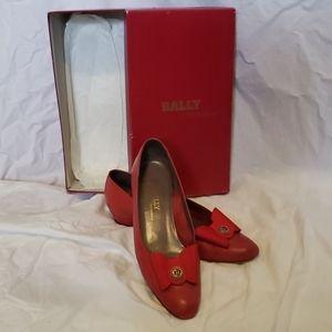 Vintage Women's Bally Emily Calf Red Flats